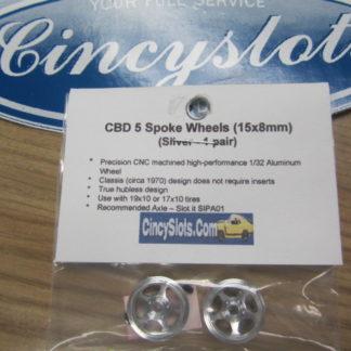 CB Design 15X8 5 Spoke Front Wheels Silver