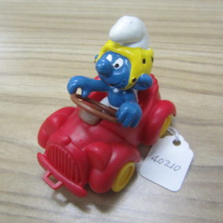 Smurfs Red Car Driving with Steering Wheel Super Smurf Rare Vintage Toy BOX 4