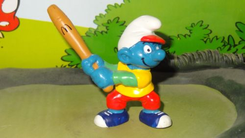 Smurfs 1997 McDonalds Promo BASEBALL SMURF Happy Meal Rare Vintage Toy Figure box 4