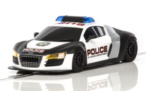 Scalextric C3932 AUDI R8 Police Car Slot 1/32 Siren Flashing Lights