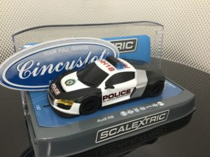 Scalextric C3932 AUDI R8 Police Car Slot 1/32 Siren Flashing Lights.
