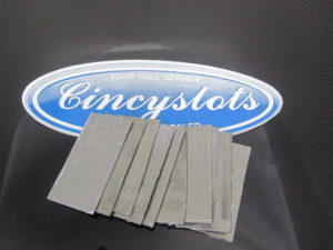 "Lead chassis weights 10pcs 1/16 x 2"" x 1""."