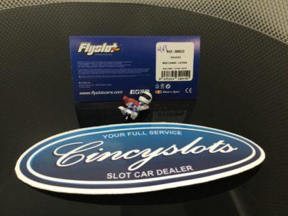 FlySlot 80033 F1 Lotus Pilot Driver. Back is Cut Out 1/32. White Helmet.