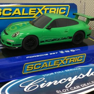 Scalextric C3074 Green Porsche 997. Lightly Used.