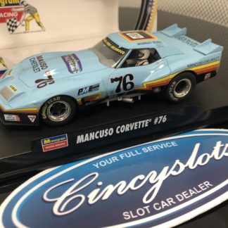 Monogram Revell 4864 Mancuso Greenwood Corvette #76 1/32 Slot Car. Small Chip on Wing Lightly Used in box.