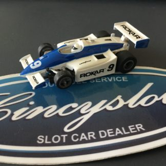 ROKAR F1 INDY Blue/White #9 HO Slot Car, Used.