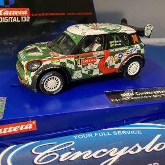 Carrera Digital 132 30615 Mini Countryman WRC Equipe Palmeirinha Rally No. 14, LIGHTLY USED.