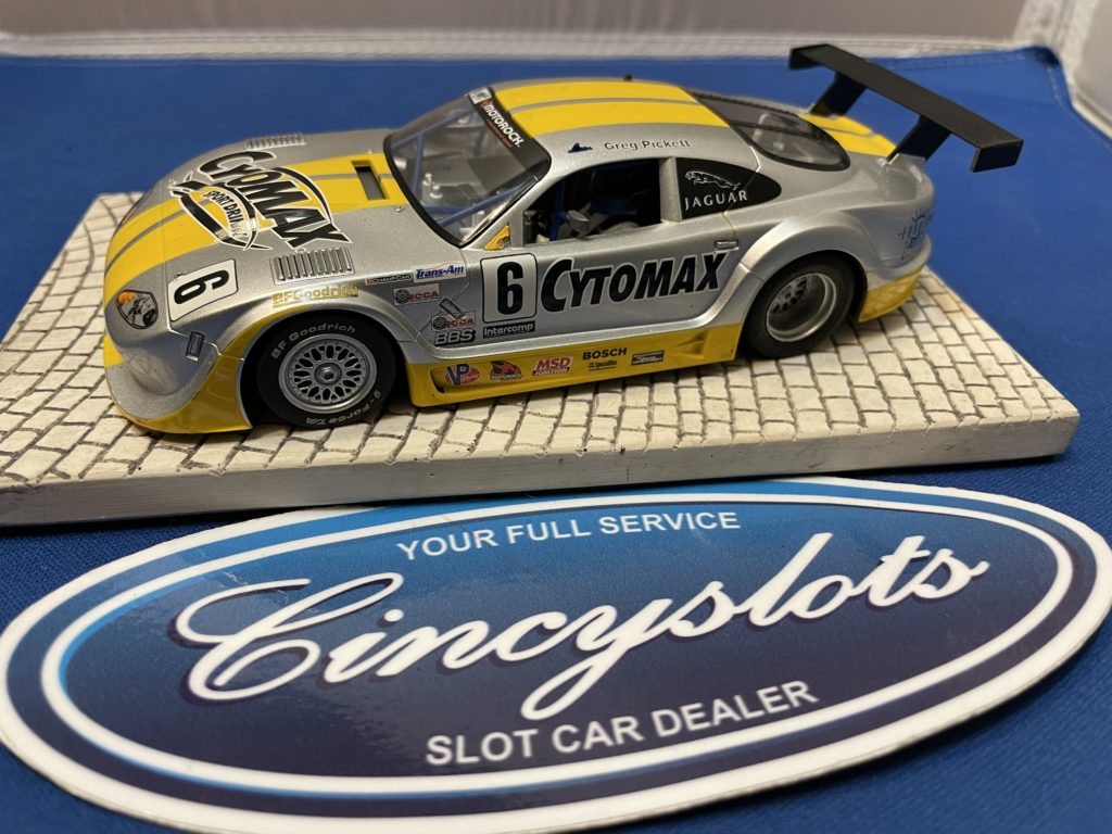 Scalextric Jaguar XKRS Slot Car Yellow/Silver Used