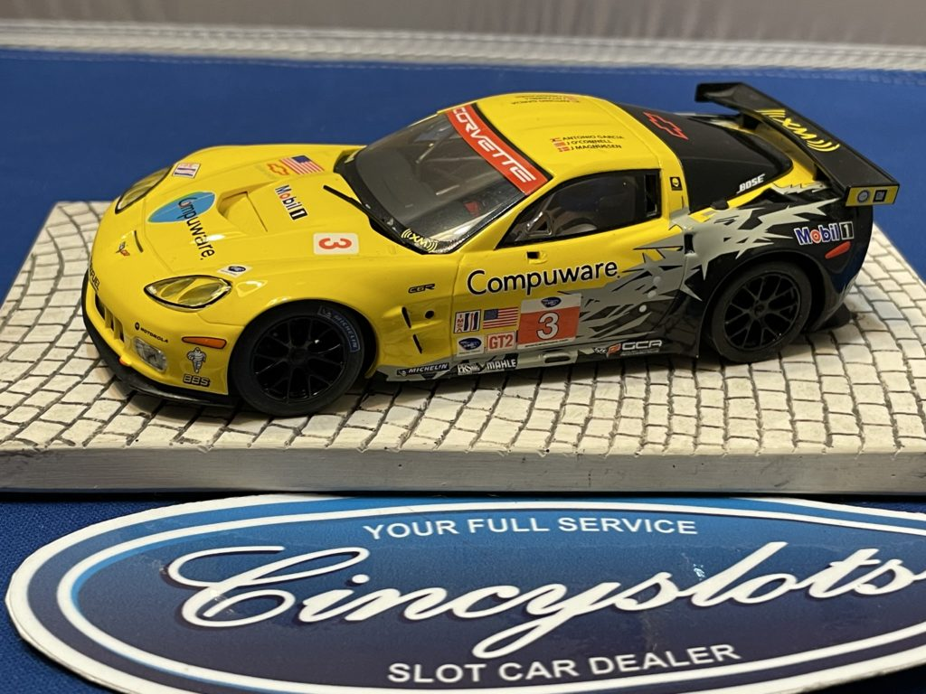 Scalextric Corvette C6R Yellow 1/32 Slot Car Used No Box