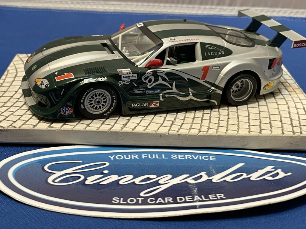 Scalextric Jaguar Slot Car Green/Silver Used