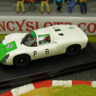 1/32 scale slot car, ready to run on all 1/32 scale non-digital tracks. Technical specification includes Sebring chassis (Inline configuration), Universal guide, SportFix braids, 21k rpm SlimLine motor, ClipFit chassis magnet (can be moved to 2 alternative positions or removed), detailed wheels and tires, fully detailed body and interior including painted driver figure.