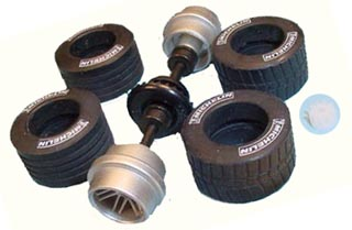Scalextric W8609 F1 rear Axle assembly Rims