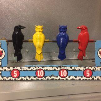 "Vintage Wyandotte Toys Tin Bird Crow Owl Spin ""Em"" Shooting Target"