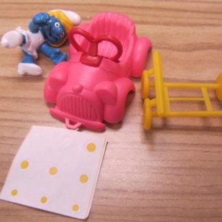 Super Smurfs Smurfette Driving Car Peyo Schleich 1996 Unused BOX 4