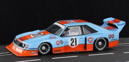 Sideways SWHC05 Ford Mustang Turbo Gulf Racing Zakspeed 1/32 Slot Car.
