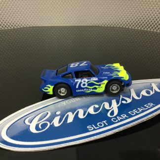TYCO PORSCHE #78 BLUE WITH FLAMES HO SLOT CAR, USED.