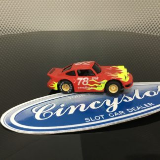 TYCO PORSCHE #78 RED WITH FLAMES HO SLOT CAR, USED.