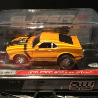 AutoWorld 1970 Ford Boss Mustang Yellow'ish Super lll HO Slot Car.