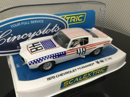 Scalextric C4043 1970 Chevrolet Camaro Stars & Stripes #48 1/32 Slot Car.