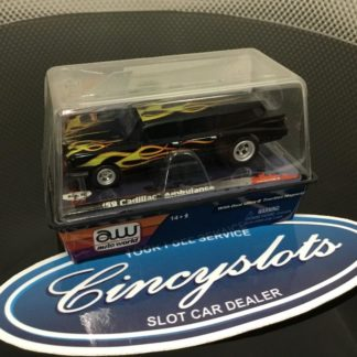 AutoWorld '59 Cadillac Ambulance Yellow Flames HO Slot Car.