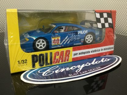 Policar PCAR03C Ferrari F40 Pilot 2nd Place at Silverstone in 1995. 1/32 Slot Car.