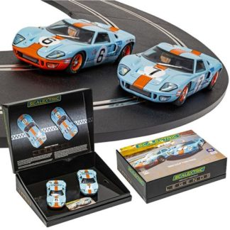 Scalextric C4041A Ford GT40 Gulf Twin Pack 1969 Le Mans. 1/32 Slot Car.