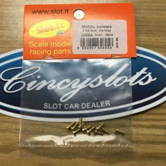 Slot.it SICH54 Slot.it Screws, 2.2x5.3mm, Brass Big Head.