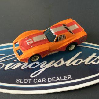 AURORA AFX SLOT CAR CORVETTE GT ORANGE RED SILVER #12