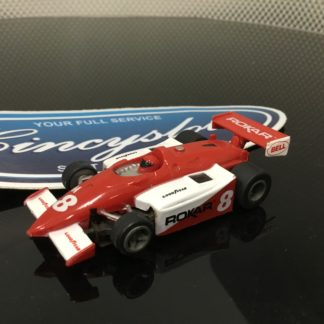 ROKAR F1 INDY Red/White #8 HO Slot Car.