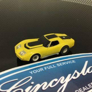 AFX Chevrolet Corvette A-Production Yellow/Black HO Slot Car, Used.