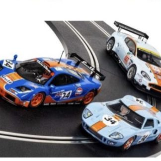 Scalextric C4146 Gulf 3 Car Set, Aston Martin, Ford Gt40 and McLaren F1.